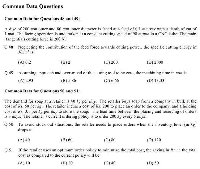 GATE 2013 Question Papers with Answers   Production and Industrial Engineering [PI] in gate  Category