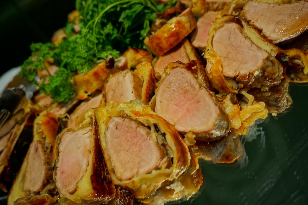 Roast Alberta filet of pork pie in maple syrup sauce