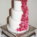 pink candy striped roses wedding cake