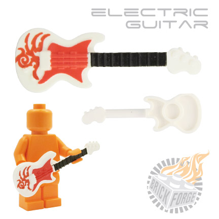 Electric Guitar - White (red Tribal print)