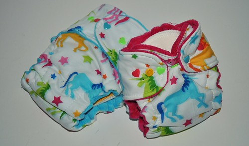 Choice of Bumstoppers One Size Hybird Fitted  or Newborn Hybrid Rainbow Unicorns Cotton Velour