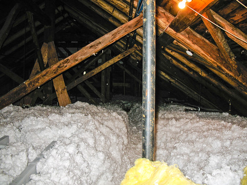 Packed down insulation