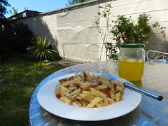 Penne dish in the garden