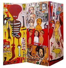 Agostinho Santos (n. 1960) A propósito de Intermitências da Morte, Acrílico s/ biombo de madeira, 200x210x9,5 cm, n.d.. DR Perve Galeria