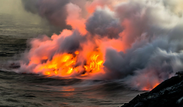 Lava flow into ocean, Hawaii