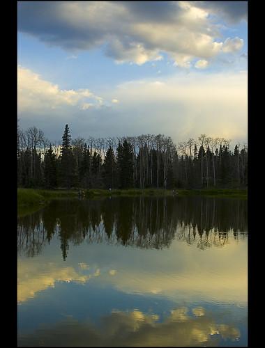 camping light sunset lake newmexico reflection last nm canjilon