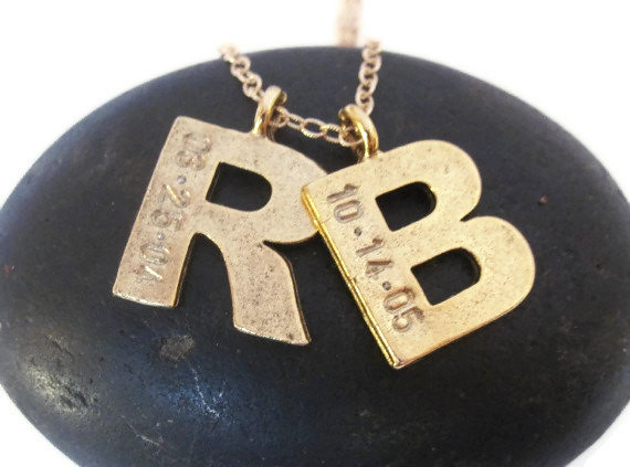 2 gold initial necklace