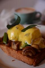 Brioche, mushrooms, poached eggs, Hollandaise sauc…