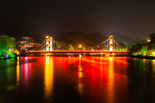 china bridge night guilin