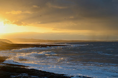 Sunset at Harkness Rocks towards Budle and Holy Island - Northumberland103