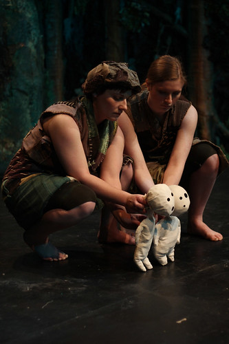 Jess Neale (L) and Lilith Brewer (R) with two kodama