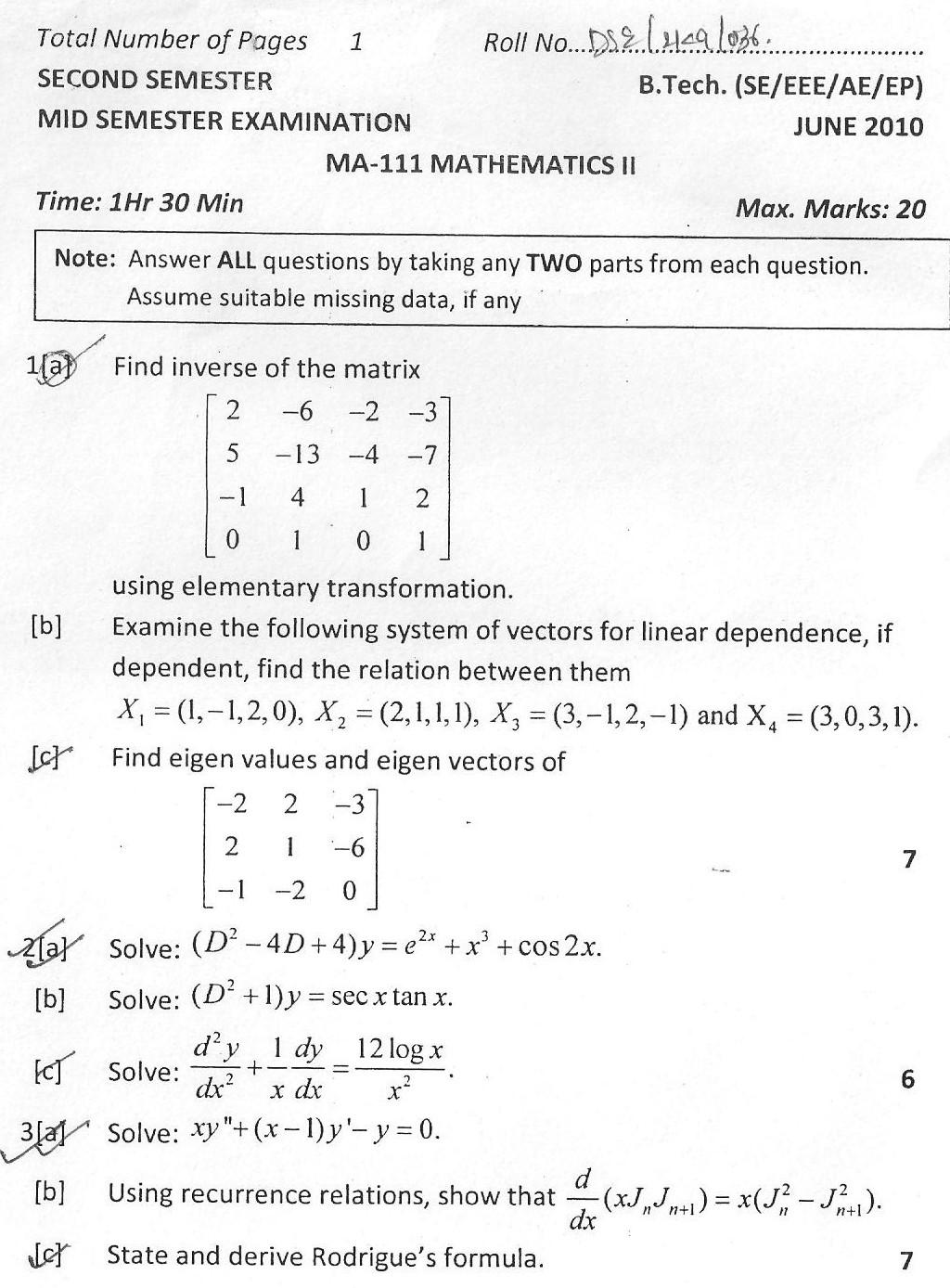 DTU Question Papers 2010 – 2 Semester - Mid Sem - MA-111