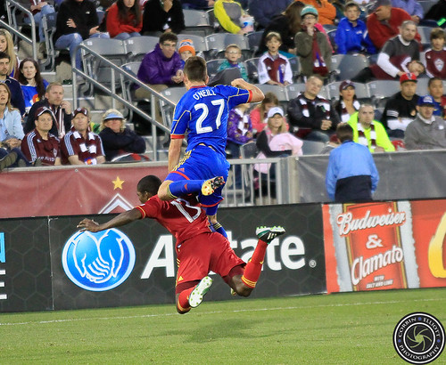 Shane O;Neill (Rapids), Olmes Garcia (RSL), Colorado Rapids vs Real Salt Lake Apr. 6th 2013 by Corbin Elliott Photography