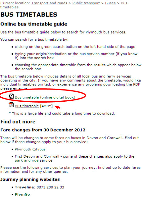 Plymouth City Council   Bus timetables