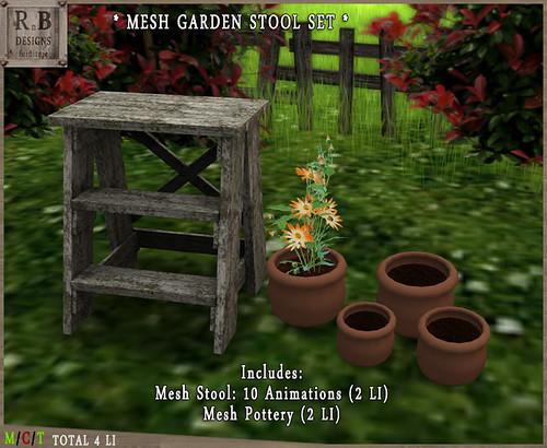 RnB Mesh Garden Stool Set - 10 Anims - Aged White 2