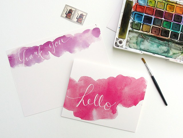 an open sketchbook : watercolor stationery