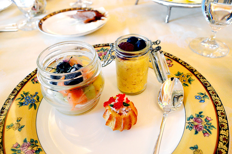 Yogurt & Fruit Cup, Meusili & Fruit, and a lobster profiterole