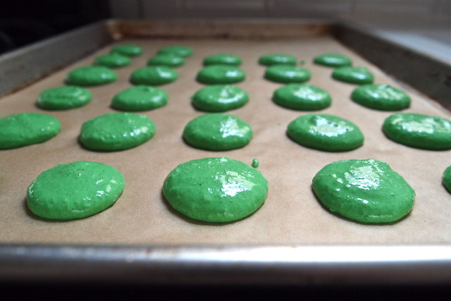 Piped macaron shells