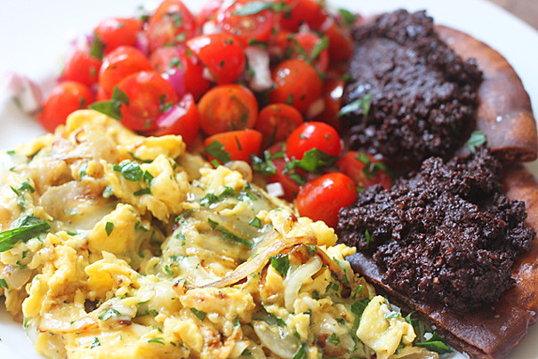 Scrambled Eggs with Gruyère, Fried Pita with Olive Tapenade & Tomato ...
