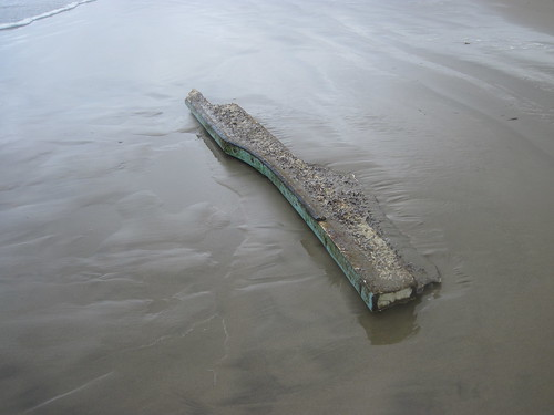 Looks kind of like piece of a boat - Cannon Beach high-tide debris