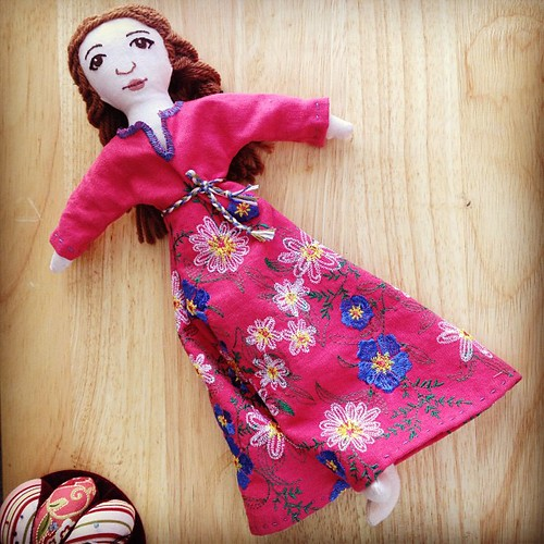 And the dress on the (as yet unnamed) doll. I ended up taking in the sides so she wouldn't be swimming in it.