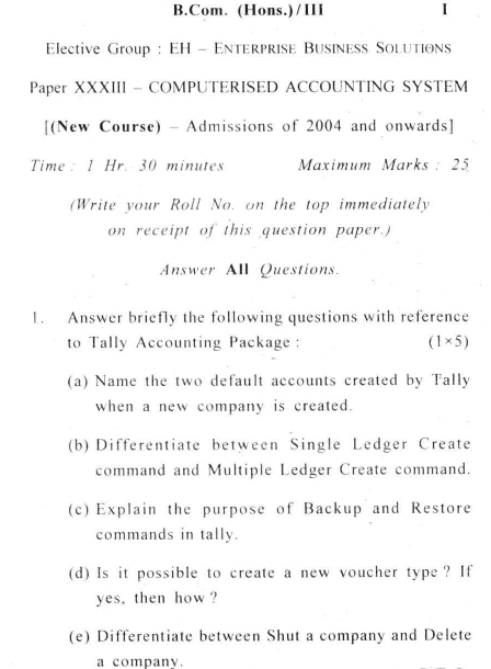 DU SOL: B.Com. (Hons.) Programme Question Paper - Computerised Accounting System - Paper XXXIII