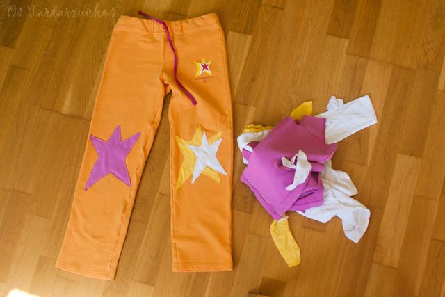 Pantalón estrelado e restos