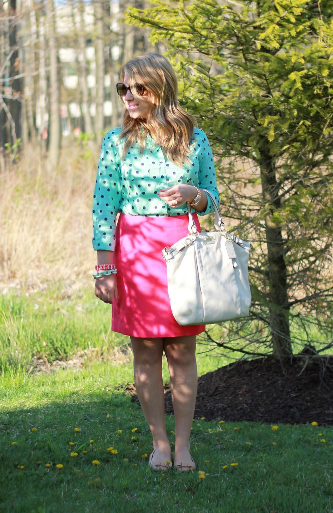 mint and pink outfit idea