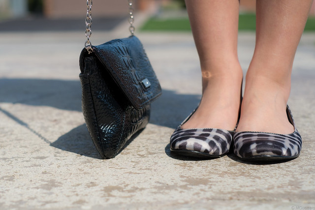 nine west chain purse and patterned flats