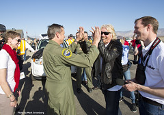 Sir Richard Branson & Forger aka Mark Stucky congratulate eachother after the success of Virgin Galactic's first rocket-powered flight