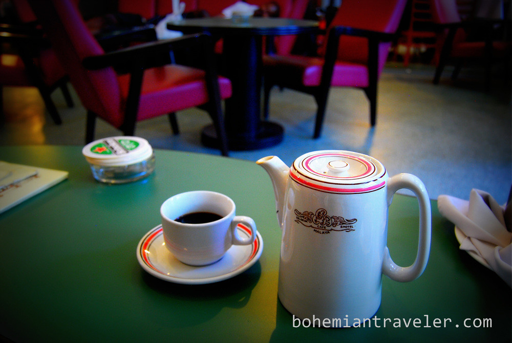 pot of coffee at the Coliseum Cafe in Kuala Lumpur