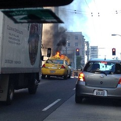 Taxi on fire downtown Seattle #mayday