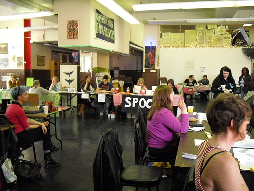 A view of the zine tablers at Midwest Zine Fest 2013