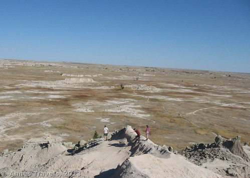Climbing back down the Butte to Saddle Pass, Badlands National Park, South Dakota