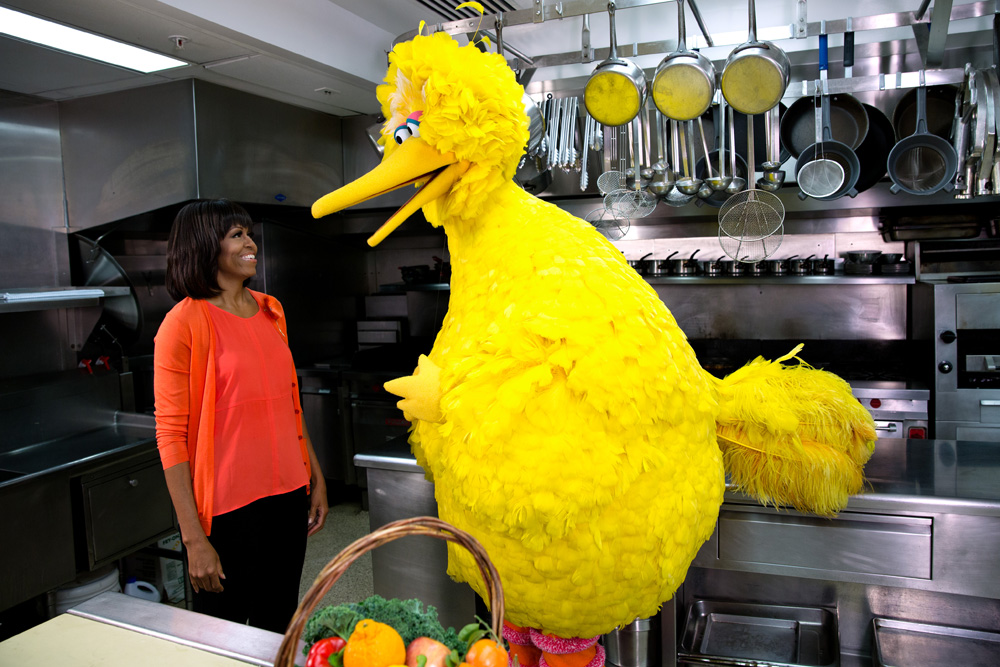 Michelle Obama with Big Bird