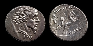448/2a Hostilia Vercingetorix Denarius. Vercingetorix, Gallic shield, Two warriors in biga,  L.HOSTILIVS SASERNA. Winckless collection.