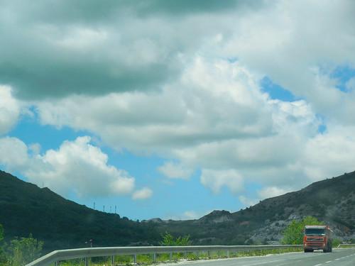 road travel red sky nature skyline truck macedonia prilep pletvar