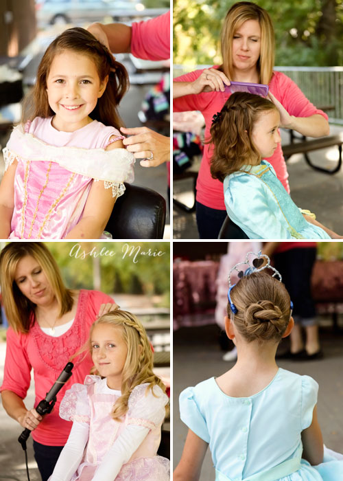 becky porter of babes in hairland creating pretty hair styles at a princess party