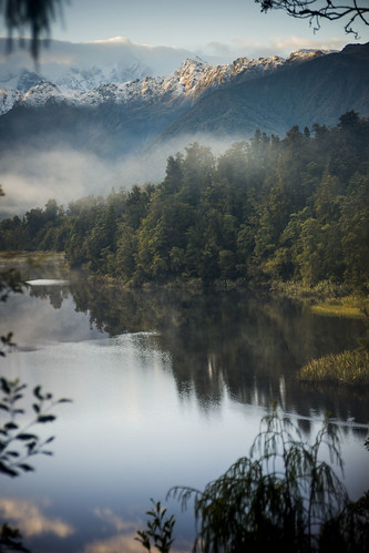 newzealand mist lake mountains reflection fog nikon nz southisland westcoast southernalps lakematheson d700 nznikond700
