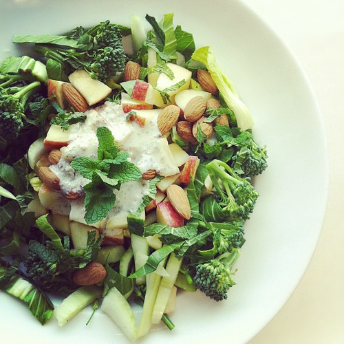 Pak choi, broccoli, apple, mint, almond cream by Salad Pride
