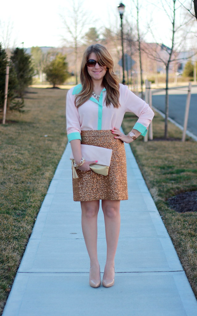 Gold Sequin Skirt & Pastel Colorblock Blouse outfit