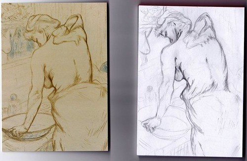 Sketch 1 Lautrec - Woman washing herself - the toilette by Janelle Wallace