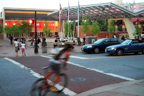 Bicyclist Outside Silver Spring Civic Building