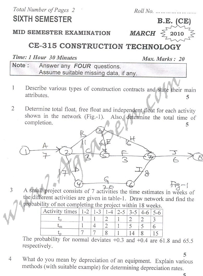 DTU Question Papers 2010 – 6 Semester - Mid Sem - CE-315