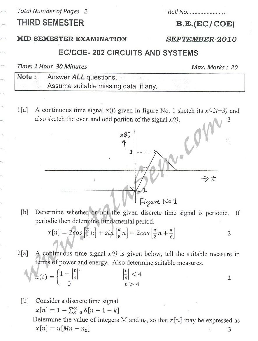 DTU Question Papers 2010 – 3 Semester - Mid Sem - EC-COE-202