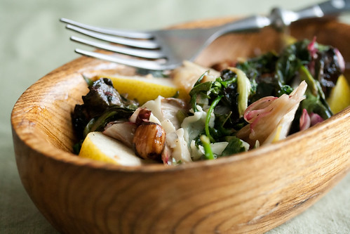 Roasted Spring Greens with Pecorino and Hazelnuts