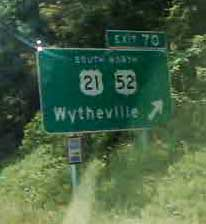 Exit to Wytheville VA road sign