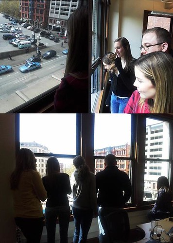 10:42 April 16, 2013 - Never a dull moment - Smith Tower Floor 4 watches an undercover drug bust