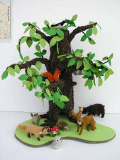 Crochet forest animals - big set with tree