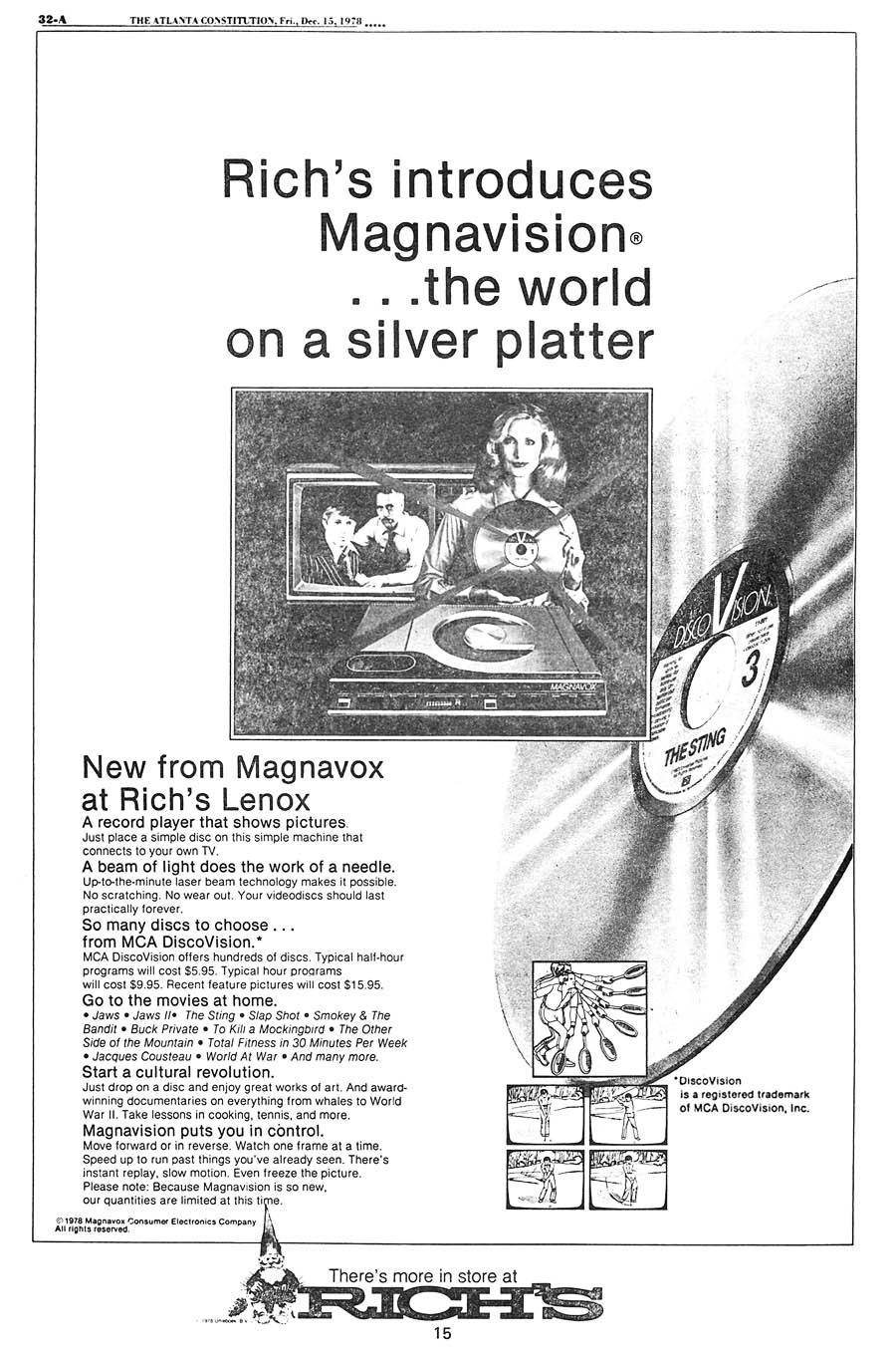 Rich's 1978 ad for Magnavision